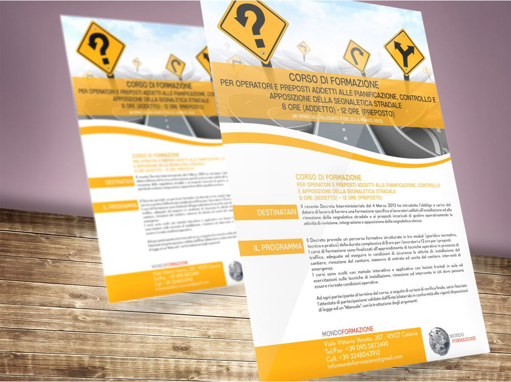 progettazione grafica di volantini per la sponsorizzazione di corsi di formazione
